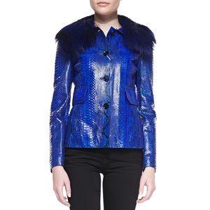 NEW! Michael Kors Blue Python & Fox Jacket